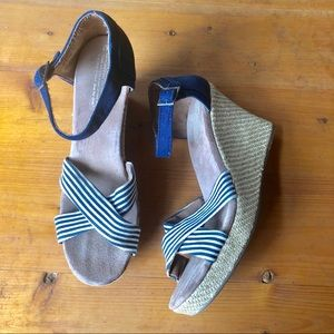 Toms Wedge Heels Sandals Striped Strap Espadrille
